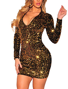 Women's Party Club Vintage Bodycon Dress,Patchwork V Neck Mini Long Sleeves Polyester Spring Fall Mid Rise Micro-elastic Medium