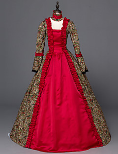 Victorian Rococo Ladies' One-Piece/Dress Red Cosplay Satin Long Sleeves Floor Length