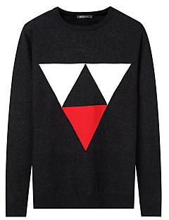 tanie Męskie swetry i swetry rozpinane-Męskie Na co dzień Okrągły dekolt Pulower Jendolity kolor Geometryczny Długi rękaw