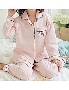 baratos Pijamas Femininos-Mulheres Algodão Tamanhos Grandes Decote V Conjunto Pijamas - Estampado, Côr Sólida