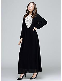 Χαμηλού Κόστους Αραβική ενδυμασία-Γυναικεία Αμπάγια Φόρεμα - Μονόχρωμο Ψηλή Μέση