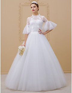 cheap Plus Size Wedding Dresses-Ball Gown High Neck Floor Length Lace Over Tulle Corded Lace Custom Wedding Dresses with Appliques Lace by LAN TING BRIDE®