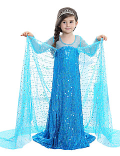 cheap Kids Halloween Costumes-Princess Fairytale Elsa Dress Children's Christmas Masquerade Birthday Festival / Holiday Halloween Costumes Blue Sequin Dresses Adorable