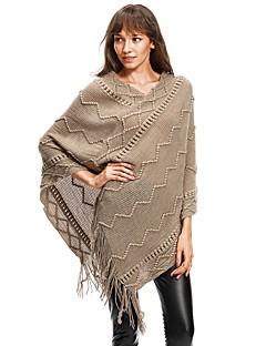baratos Suéteres de Mulher-Mulheres Para Noite Moda de Rua Sólido Manga Longa Padrão Capa / Capes, Decote V Outono / Inverno Preto / Khaki M / L