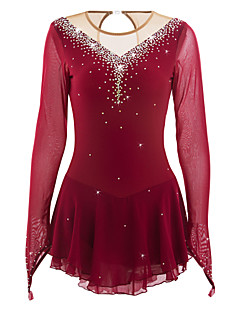 cheap Ice Skating Dresses , Pants & Jackets-Figure Skating Dress Women's Girls' Ice Skating Dress Burgundy Elastane High Elasticity Competition Skating Wear Handmade Jeweled Rhinestone Long Sleeve Ice Skating Figure Skating