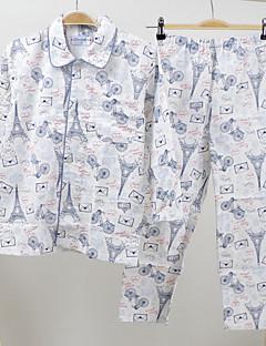 Para Meninas Roupa de Dormir Estampado Algodão Manga Comprida Desenho Verde Branco Rosa Cinzento