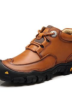 hesapli -Erkek Ayakkabı Nappa Leather Kış Sonbahar Combat Botları Çizmeler Dağ Yürüyüşü Yarı-Diz Boyu Çizmeler Atletik Günlük için Bağcıklı Siyah
