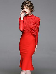 זול אופנה ובגדי נשים-עומד תחרה פרח, סרוג - שמלה נדן רזה סגנון סיני בגדי ריקוד נשים