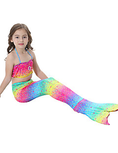 cheap Halloween & Carnival Costumes-The Little Mermaid Bikini Swimwear Kid's Christmas Masquerade Festival / Holiday Halloween Costumes Rainbow Rainbow Mermaid and Trumpet