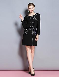 レディース シンプル カジュアル/普段着 ワーク シース ドレス,ソリッド ラウンドネック 膝上 長袖 コットン スパンデックス 冬 ミッドライズ 伸縮性あり 厚手
