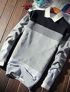 tanie Męskie swetry i swetry rozpinane-Męskie Moda miejska Kołnierzyk koszuli Pulower Prążki Długi rękaw