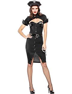 billige Voksenkostymer-Politi Cosplay Kostumer Kvinnelig Halloween Karneval Festival / høytid Halloween-kostymer Svart Fargeblokk