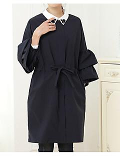 Damen Solide Einfach Lässig/Alltäglich Trench Coat,Rundhalsausschnitt Winter Langärmelige Lang Baumwolle Acryl Schleife