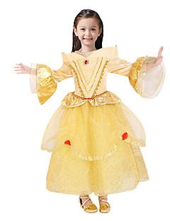 baratos Fantasias de Crianças-Princesa Conto de Fadas Belle Vestidos Festa a Fantasia Crianças Natal Baile de Máscaras Aniversário Festival / Celebração Trajes da