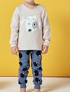 Jungen Schlafanzüge Druck Muster Baumwolle Langärmelige Zeichentrick Beige