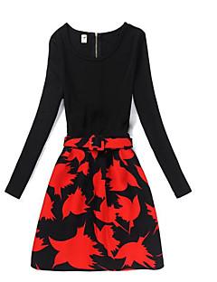 billige Pigekjoler-Pigens Kjole Daglig I-byen-tøj Ensfarvet Blomstret, Bomuld Polyester Vinter Efterår Langærmet Vintage Sødt Prinsesse Rød