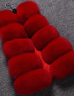 billiga Dampälsar och läder-Dam Dagligen Höst / Vinter Normal Fur Coat, Enfärgad V-hals Ärmlös Rävpäls Svart / Rubinrött / Grå L / XL / XXL