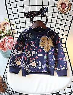 billige Pigetoppe-Pige T-shirt Geometrisk, Bomuld Polyester Forår Efterår Langærmet Simple Hvid Navyblå