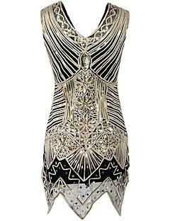 Vintage Jaren '20 Gatsby Kostuum Vrouwelijk Feestkostuum Gouden Vintage Cosplay Lovertje  Mouwloos Koude schouder Tot de knie