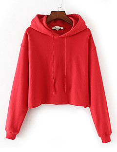 Women's Petite Casual/Daily Simple Hoodie Solid Hooded Hoodies Micro-elastic Polyester Long Sleeve Winter Fall