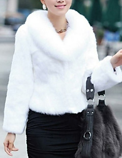 cheap -Women's Casual/Daily Simple Winter Fall Short Fur Coat,Solid V Neck Faux Fur Fur Trim