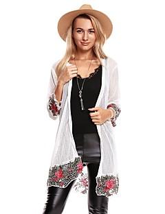 baratos Suéteres de Mulher-Mulheres Para Noite Moda de Rua Longo Carregam - Sólido Floral Geométrica, Renda Flor