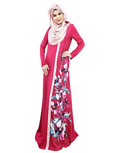 baratos Costumes étnicas e Cultural-Vestido árabe / Abaya / Vestido Kaftan Mulheres Festival / Celebração Trajes da Noite das Bruxas Cinzento / Vermelho / Azul Floral Estilo Étnico / Vestidos e Saias / Comprimento Longo