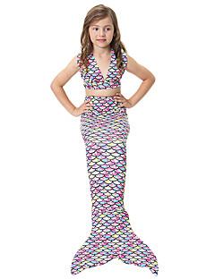 billige Halloweenkostymer-The Little Mermaid Bikini Badetøy Barne Jul Maskerade Festival / høytid Halloween-kostymer Regnbue Regnbue Havfrue og Trompet Kjole Slip