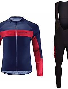 billiga Cykling-Wisdom Leaves Långärmad Cykeltröja med Haklapp-tights - Purpur / Röd / Blå Cykel Tröja / Klädesset Polyester Ensfärgat / Elastisk