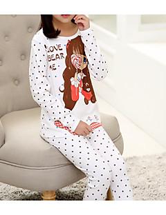 billige Undertøj og sokker til piger-Pige Mønstret Nattøj, Bomuld Langærmet Simple Hvid Lyserød