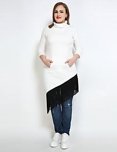 tanie Damskie bluzy z kapturem-Damskie Rozmiar plus Vintage Bluzy - Jendolity kolor Wielokolorowa, Frędzel