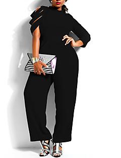 お買い得  レディースジャンプスーツ&ロンパース-女性用 プラスサイズ ヴィンテージ ジャンプスーツ ソリッド ワイドレッグ