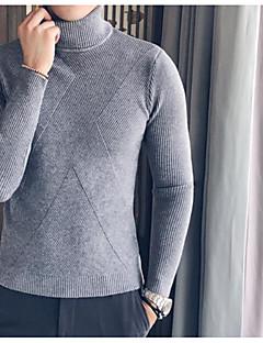 tanie Męskie swetry i swetry rozpinane-Męskie Prosty Golf Pulower Jendolity kolor Długi rękaw