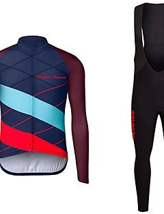 billige Sykkelklær-Wisdom Leaves Langermet Sykkeljersey med bib-tights - Svart / Mørkeblå / Rød+Blå Sykkel Jersey / Klessett Polyester Helfarge / Elastisk