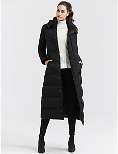 Women's Long Down Coat,Casual Daily Solid-Cotton Polypropylene Long Sleeves Hooded