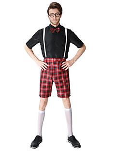 billige Halloweenkostymer-Elev / Skole Uniformer Cosplay Kostumer Herre Halloween Karneval Festival / høytid Halloween-kostymer Drakter Svart Fargeblokk Gitter / Teppe Mønster