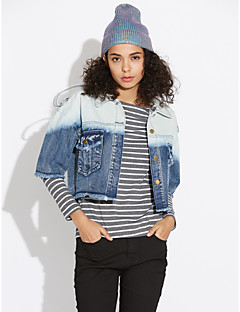 Women's Going out Simple Casual Winter Denim Jacket,Solid Color Block Shirt Collar ¾ Sleeve Short Polyester
