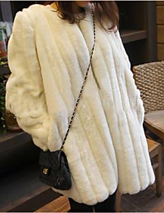 ieftine -Pentru femei Rotund Regular Palton Piele Casul/Zilnic Simplu, Mată Iarnă Toamnă Γούνινος Γιακάς Blană Artificială