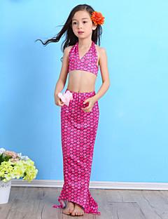 cheap Girls' Clothing-Girls' Print Cartoon Swimwear, Nylon Blue Green Fuchsia
