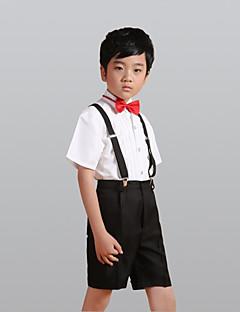 tanie Garnitury dla małych dróżbów-White Poliester Garnitur dla małego drużby - 4 Zawiera Koszula Spodnie Szelki Muszka