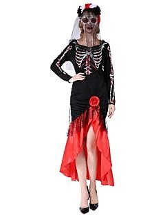 billige Halloweenkostymer-Victoriansk Kostume Dame Kjoler Rød/Svart Vintage Cosplay polyester Langermet Biskop Telang