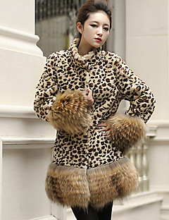 cheap -Women's Daily Casual Fall Regular Fur Coat, Leopard Stand Faux Fur Oversized