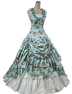 Gothic Victoriaans Dames Badpak Jurken Rok Outfits Cosplay blauw Bloemen Kap Mouwloos Tot de enkel