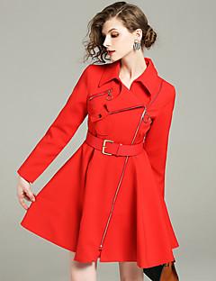 billige Kvinder Overtøj-Krave Patchwork, Dame Ensfarvet Sofistikerede Trenchcoat