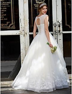 Ballkjole Besmykket Gulvlang Tyll Bryllupskjole med Perlearbeid Appliqué av LAN TING BRIDE®
