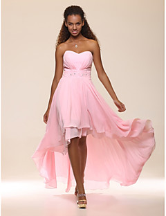 cheap Wedding Guest Dresses-A-Line Princess Strapless Sweetheart Floor Length Asymmetrical Chiffon Homecoming / Prom / Formal Evening Dress with Beading Pleats Side