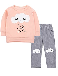billige Sett med babyklær-Baby Pige Tøjsæt Fødselsdag Daglig Trykt mønster, Bomuld Forår Langærmet Sødt Aktiv Orange