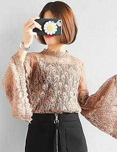 billige Skjorte-Høj krave Dame - Ensfarvet Bomuld, Blonder Sødt Ferie Skjorte