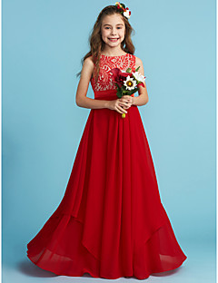 cheap Junior Bridesmaid Dresses-Sheath / Column Jewel Neck Floor Length Chiffon Lace Junior Bridesmaid Dress with Appliques Sash / Ribbon by LAN TING BRIDE®