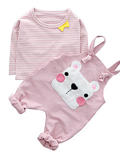 billige Sett med babyklær-Baby Pige Stribet Trykt mønster Kort Ærme Tøjsæt